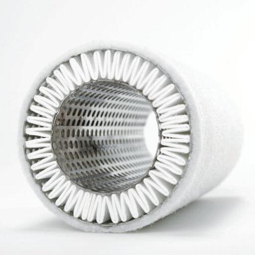 Vacuum pump exhaust filter element