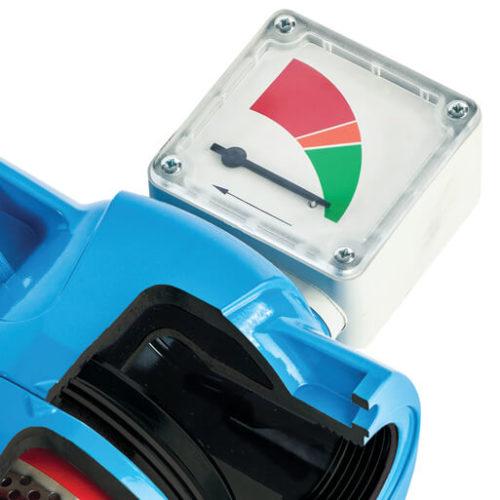 Cut Away of a blue alloy high pressure filter